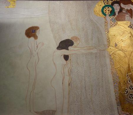 Gustav Klimt. Le Chevalier d'or, Reconstitution de la Frise Beethoven (détail), 1985. Technique mixte sur plâtre sur chaume.