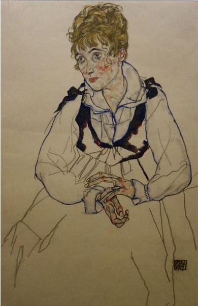 Egon Schiele. Edith Schiele, 1917. Tempera sur papier. Belvédère, Vienne.
