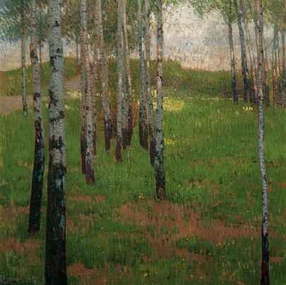 Carl Moll - Bosquet de bouleaux au crépuscule, 1902. Huile sur toile 80 x 80 cm