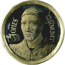 Jean FOUQUET Tours, vers 1415 - 1420 - Tours, entre 1478 et 1481 Autoportrait vers 1450 Email peint sur cuivre D. : 0,06 m.