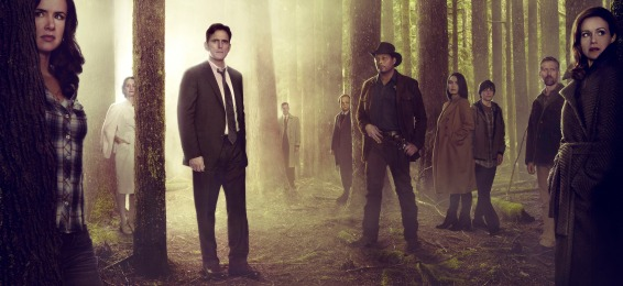 """WAYWARD PINES:  Based on a best-selling novel and brought to life by suspenseful storyteller M. Night Shyamalan (""""The Sixth Sense""""), WAYWARD PINES is an intense, mind-bending 10-episode thriller starring Academy Award nominee Matt Dillon (""""Crash"""") as a Secret Service agent on a mission to find two missing federal agents in the bucolic town of Wayward Pines, ID. Every step closer to the truth makes him question if he will ever get out of Wayward Pines alive.  WAYWARD PINES will join the schedule in 2015 on Fox.  Pictured L-R:  Juliette Lewis, Melisa Leo, Matt Dillon, Tim Griffin, Toby Jones, Terrence Howard, Shannyn Sossamon, Charlie Tahan, Reed Diamond and Carla Gugino. ©2014 Fox Broadcasting Co.  Cr:  Frank Ockenfels/FOX"""